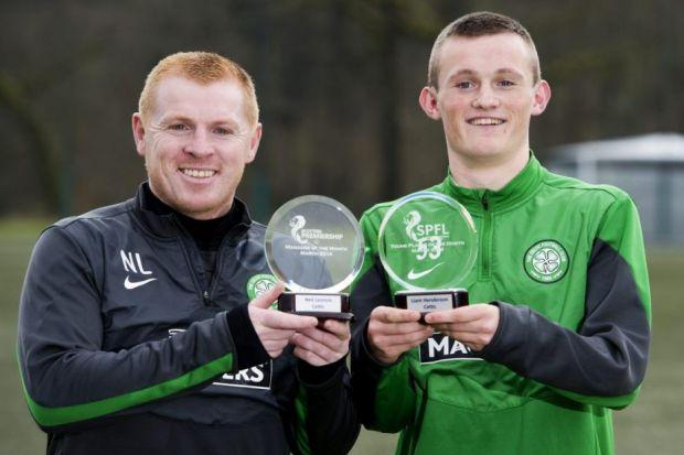Neil Lennon and Liam Henderson can't stop smiling as they pick up the SPFL Manager and Young Player of the Month awards for March