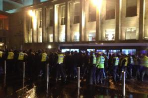 Dozens of Ajax fans ringed by police outside city centre pub before clash with Celtic
